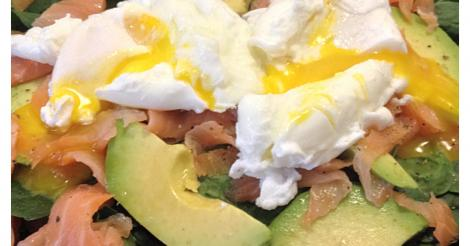 Smoked Salmon, Avocado, Spinach & Poached Egg Salad