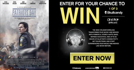 Enter for your chance to win 1 of 3 Skullcandy Crusher Wireless with Patriots Day