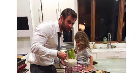 Chris Hemsworth baked his daughter a birthday cake and it was the cutest ever [PHOTOS]