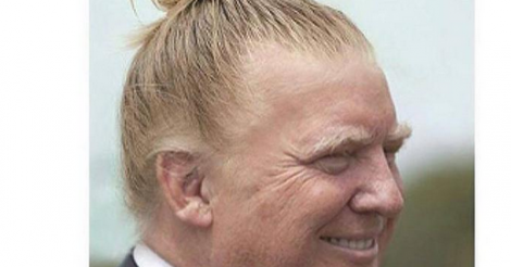 Donal Trump with a man bun will haunt your dreams
