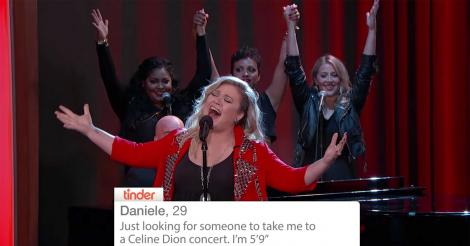 ​Watch Kelly Clarkson sing Tinder profiles - best. ever. [VIDEO]