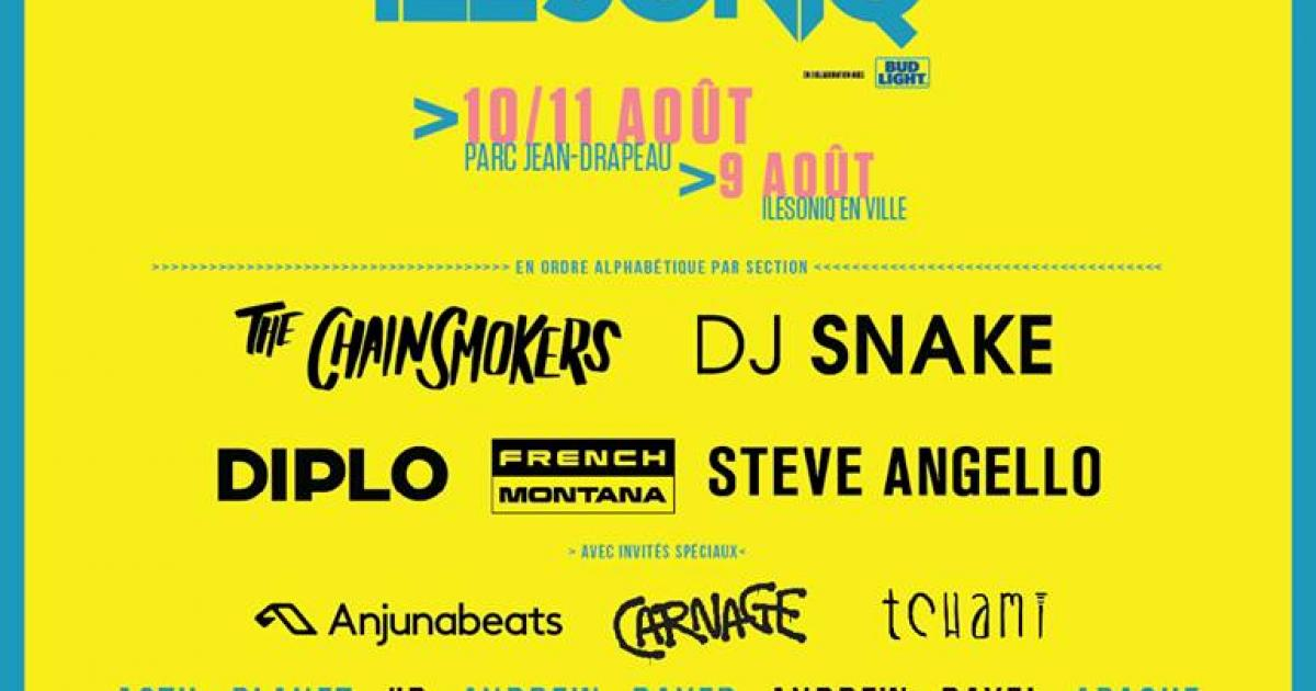 Île Soniq 2018 unveils its complete line-up with The Chainsmokers, Diplo, Dj Snake, Steve Angelo