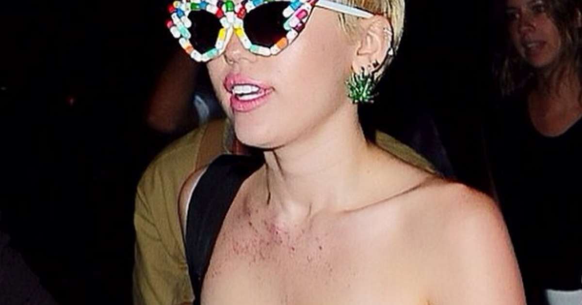 Miley cyrus shows boobs at party excited