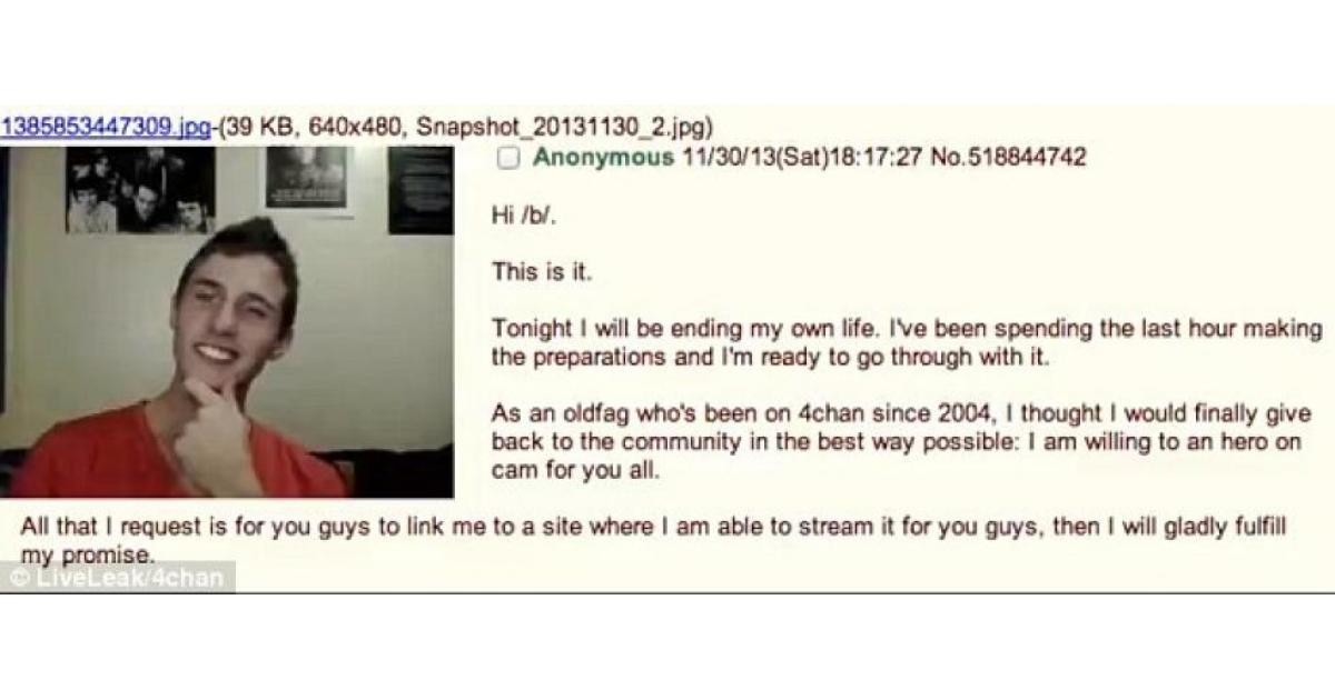 20-year-old 4chan user sets himself on fire in horrifying live stream suicide attempt viewed by 200 people