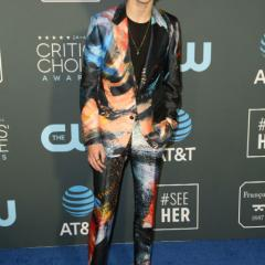 Beautiful Boy star Timothée Chalamet pairs a colourful Alexander McQueen suit with sneakers.