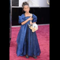 Quvenzhane Wallis. She may only be nine years old, but this Oscar nominee is on top of the evening's big trend: blue! Also: Please note her special Oscar night puppy purse.