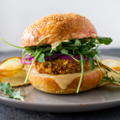 Crunchy Chickpea Burgers with Homemade Potato Chips