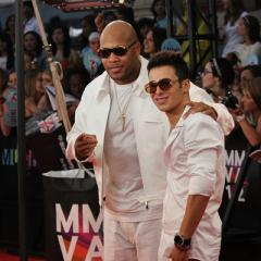 Flo Rida and Tyler Medeiros arrive at the 2012 MuchMusic Video Awards in Toronto on June 17, 2012.