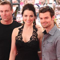 The cast of Saving Hope (Michael Shanks, Erica Durance and Daniel Gillies) arrive at the 2012 MuchMusic Video Awards in Toronto on June 17, 2012.